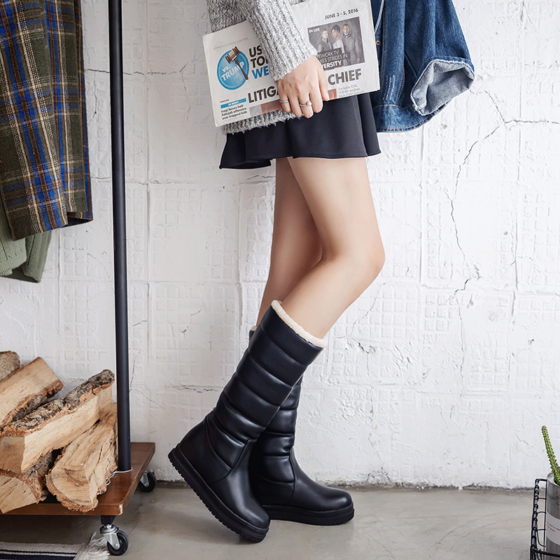 2018 New women boots winter knee high boots ladies dress boot platform snow boots flat women shoes black white pink
