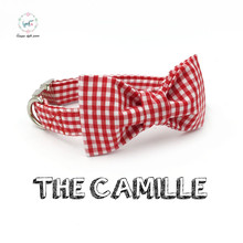 red striped  dog collar  bow tie  personal custom pet pupply designer product dog &cat necklace XS-XL