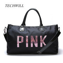 Fashiopn Designer Metal Sequins PINK Letters Sport Multifunction Gym bag for Women Large Sport Fitness Bag Women Travel Duffle(China)