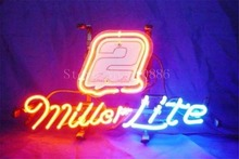 "NEON SIGN For Miller Lite Autographed Nascar #2 Race Numbe Real GLASS Tube BEER BAR PUB store display Shop Light Signs 17*14""(China)"