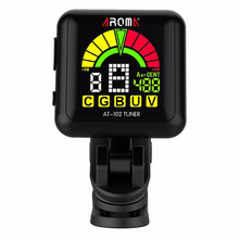 AROMA AT-102 Rechargeable Rotatable Clip-on Electronic Tuner Color Screen with Built-in Battery USB Cable for Chromatic Guitar