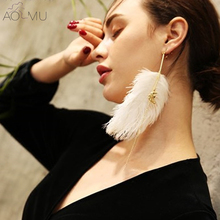 AOMU Fashion Design Big Peacock Feathers Super Long Earrings Metal Peace Dove Pendant Drop Earrings for Women Gift Brincos 21cm(China)