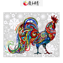 Buy Diy Oil Painting Numbers Colorful Cock Home Decor Handpainted Number Colorful Canvas Living Room for $15.75 in AliExpress store