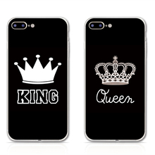 2017 Phone Cases For iPhone 7 7Plus Clear TPU Silicone Valentine KING Queen Phone Case for Apple iPhone 5 5S SE 6 6S 6Plus Cover
