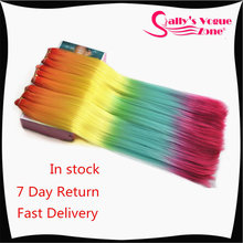 "Ombre  Synthetic Hair Extension Silky Straight 24"" Rainbow Color Synthetic Hair Weaving  Hair Braid 3Pcs/lot"