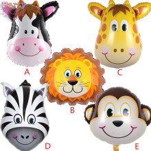 1 unids/lote León y mono y cebra y deer & cow Animales cabeza de Helio Globos Foil Animal Aire Globos tema birthday party supplies