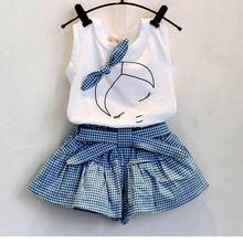 Toddler Girls Clothing Set 2017 New Summer Style Kids Suits White Vest Blue Lattice Shorts Casual Cotton Children Clothing 3-7Y(China)
