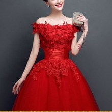 Three Red Mid Long Birthday Party Dress Women Vestido de Noiva Lace Sequin Festa Sexy Slim Big Swing Dresses Gift plus size 2017(China)
