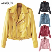 2017 New Fashion Motorcycle PU Leather Jacket Lady Silm Faux Soft Leather Blazer Autumn 5colors Zipper Outerwear Coat with Belt(China)