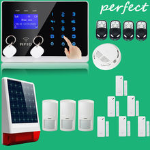 RFID tags Touch Keypad LCD GSM SMS Wireless Security Home Burglar Intruder smoke/fire Alarm System w External Solar Siren