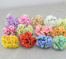 6pcs cheap Artificial flowers roses silk flower DIY wreath material bride wrist flower Headwear Wedding flower decoration