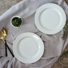 Nordic 8inch/Dia22cm dinner plates tray salad dishes bandejas ceramic plates kitchenware white(China)
