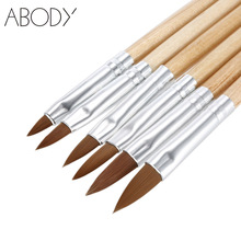 6Pcs/set Nail Brush Set Professional Sable Hair Nail Art Painting Brush Design Pen Kit Wooden Handle DIY Manicure Nail Art Tools(China)