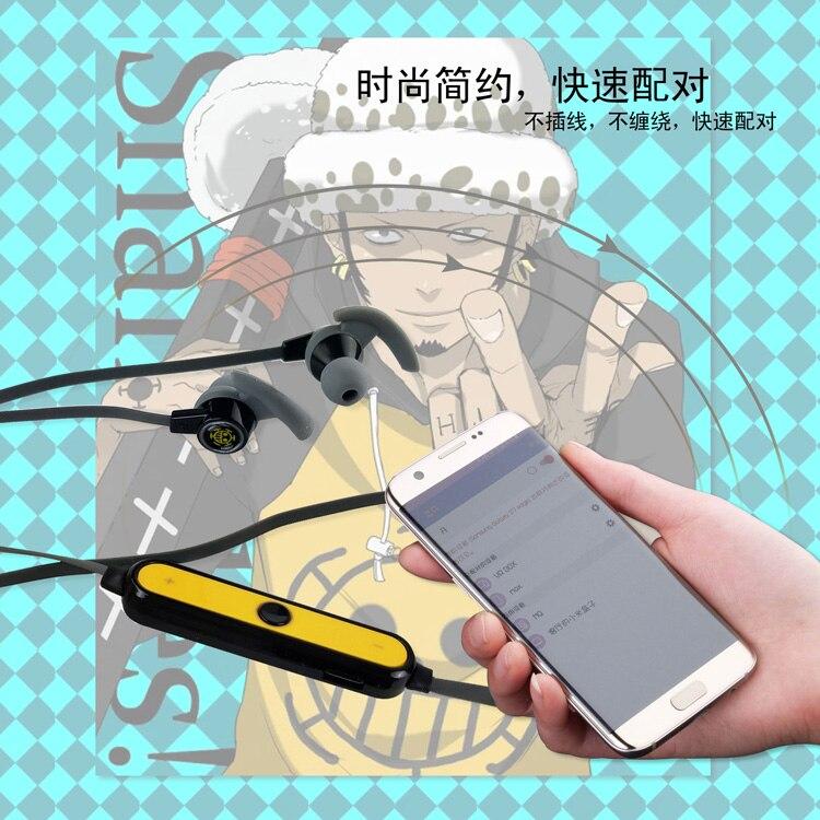 MLLSE Anime One Piece Trafalgar Law Skull Wireless Earphones and Headphone Headset Bluetooth Headphones Sport for Iphone Samsung