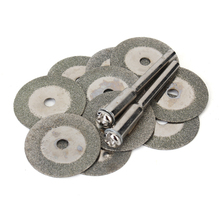 10pcs 20mm Diamond Grinding Wheel Slice with Two 3mm Shank Mandrels for Dremel Rotary Tool