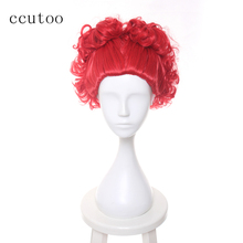 ccutoo Alice in Wonderland The Red Queen Bright Red Curly Short Synthetic Hair Heat Resistant Cosplay Wig Halloween Party Wigs(China)