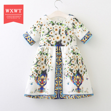 WXWT 3-8Y Girls Dresses Summer 2017 Princess Dress Baby Girl Fashion Clothes Robe Fille Enfant Kids Dresses for Girls(China)