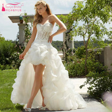 Short Front Long Back Wedding Dresses Crystal Sexy Bridal Gowns Swweetheart 2016 Modest Wedding Dress arabic bridal dress Z195