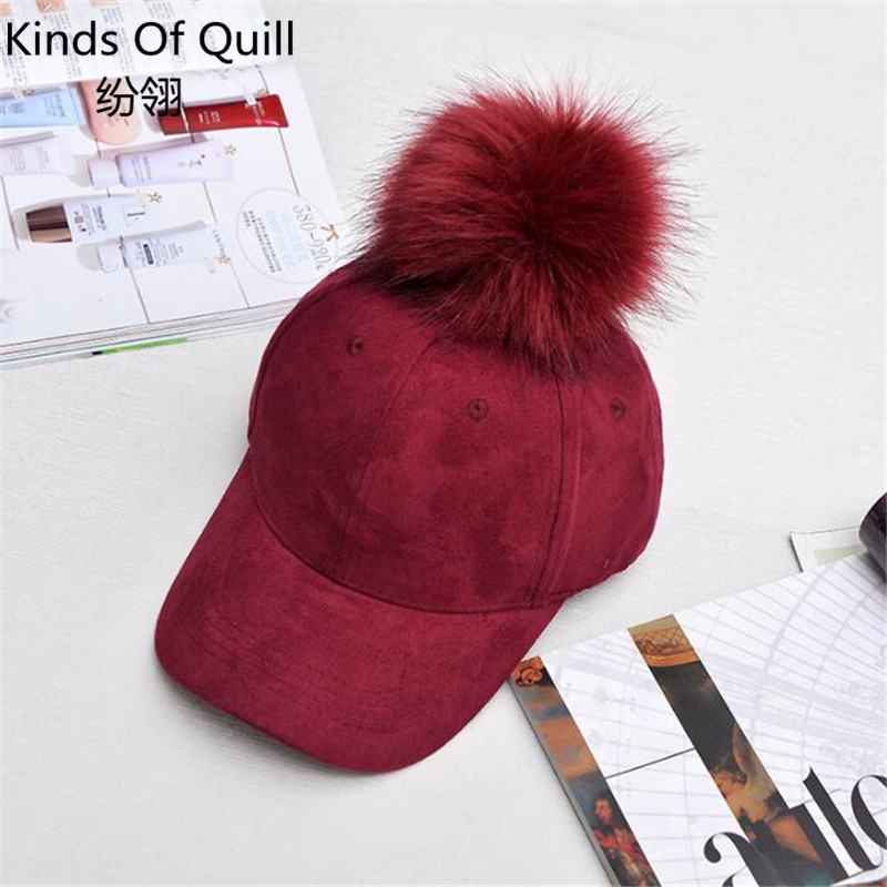 2017 fashion snapback hat big hair ball suede baseball cap hip-hop cap candy color lady winter hat gorras casquette<br><br>Aliexpress