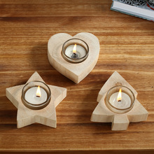 3pcs/set Handmade Wooden Tealight Candle Holder Heart Star Tree Shape Candlestick Christmas Festival Supply Wedding Gift