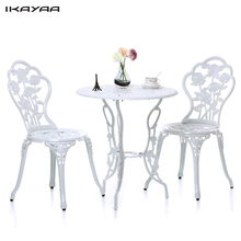 iKayaa 3PCS Modern Outdoor Patio Bistro Set Aluminum Porch Balcony Garden Table & Chairs Set Furniture Leaves Design US/UK Stock(China)