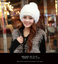Harppihop fur real mink fur hat for women winter knitted mink fur beanies cap fox fur pom poms brand new thick female cap
