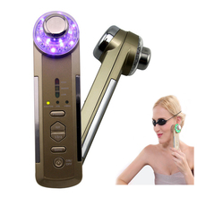 Portable 4 in 1 Ultrasonic Photon Device Ionic Vibration Massage Led Light Therapy Face Cleaning Facial Skin Care Massager(China)