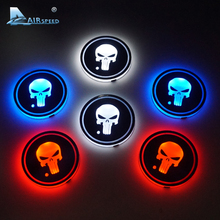 Airspeed 2pcs/lot Halloween Decoration Gift LED Cup Coasters Punisher Skull Ghost Cup Mat for BMW Ford Volkswagen Toyota Peugeot(China)