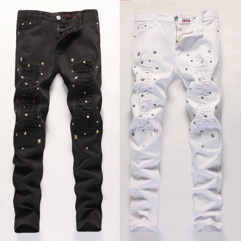 Hot pants playing nail holes Mens jeans Europe and the United States Slim men feet pants Black and white color Size 30-36Одежда и ак�е��уары<br><br><br>Aliexpress