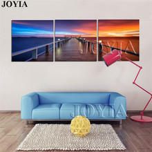 3 Piece Canvas Art Morning Sunrise On Sea Jetty Modern Wall Pictures Beautiful Lanscape Paintings For Living Room Decor No Frame(China)
