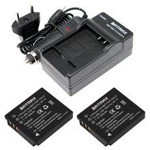 CGA-S005E S005 Rechargeable Battery(2Pack)+Charger Kit for Panasonic Lumix DMC-LX1 LX2 LX3 FX3 DMW-BCC12 For FUJI NP-70 DB60(China)