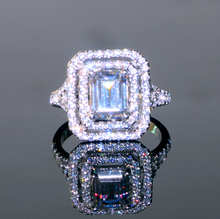 Free shipping Luxury 1.5 Carat Emerald Cut Sterling Silver Wedding Engagement RING BEST QUALITY SIMULATED DIAMOND &WORKMANSHIP(China)