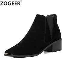 Top Quality Suede Winter Autumn Women Boots Classical Black Grey Ankle boots Casual Square Low Heel Shoes Woman(China)