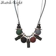 Match-Right Women Necklace Statement Necklaces & Pendants Wood Beads Necklace For Women Jewelry YJZ-165