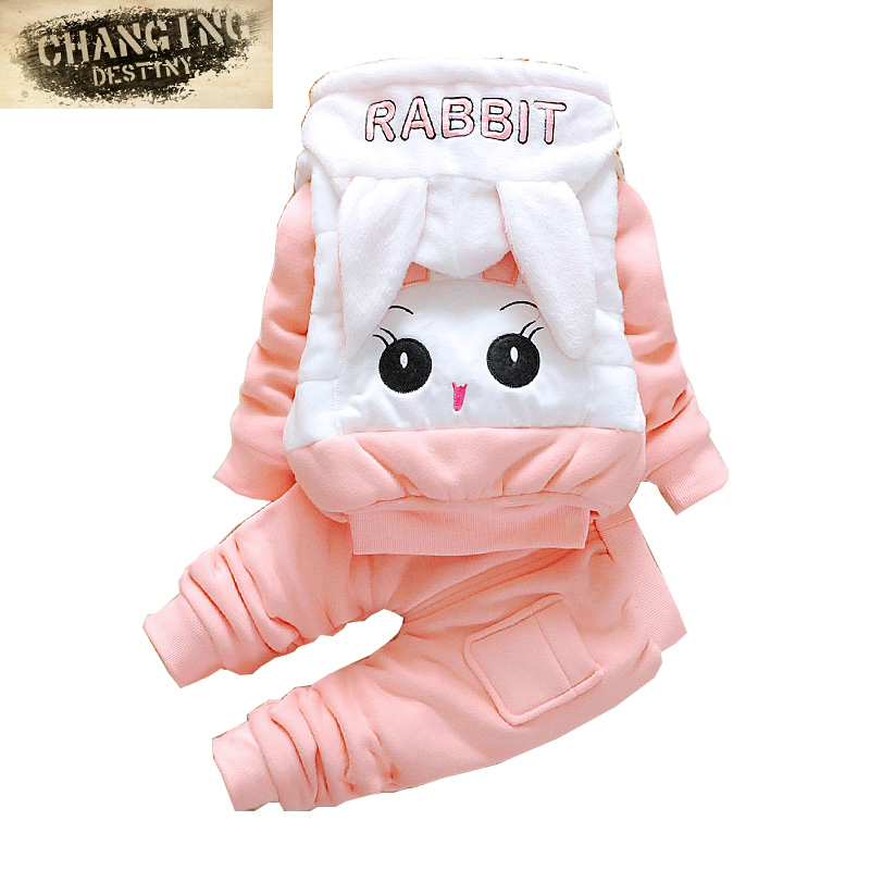 0-2 Years Old Autumn Winter Baby Cotton Dress Girls Boys Cartoon Animal Suit Thick Warm Hoodies Vest+T-shirt +Pants 3 Piece<br>