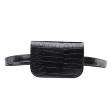 Vintage PU  Leather Waist  Bag   Women Alligator Waist Pack  Travel Belt Wallets