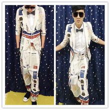 2017 Thennan Male male dj gd geometry abstract doodle design long suit costumeThe singer's clothing  M-XXL