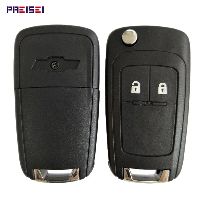PREISEI 2 Button Replacements Flip Folding Remote Car Key Shell Case For Chevrolet Cruze Epica Lova Camaro Impala Emblem Key(China)