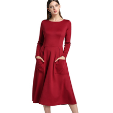 YJSFG HOUSE Sexy Ladies Women OL Dresses Evening Casual Long Sleeve Work Dress Pocket Loose Formal Dress Party Solid Spring(China)