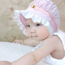 Summer Baby Caps Cotton Baby Hat Newborn Photography Props Rosette Baby Girl Hat -- MKE046 PT40(China)