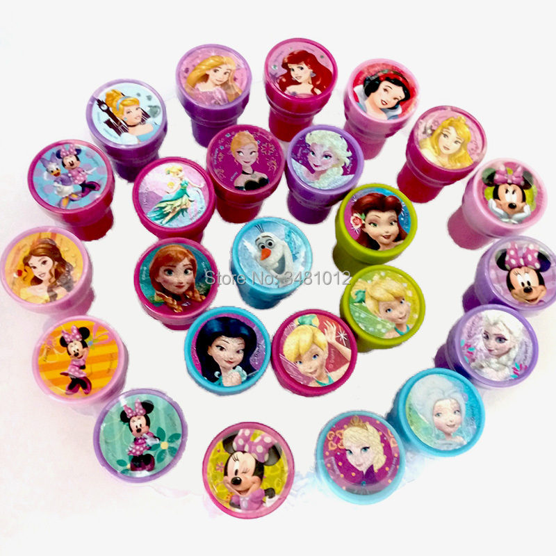 6pcs/bag Kids DIY Stamp Education Toy Cartoon Princess Painting Stamps Children School Art Tool Self Inking Party Toys Set
