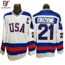 BONJEAN USA Team Ice Hockey Jersey 1980 Miracle On Ice Team USA 21# Mike Eruzione Stitched Winter Sport Wear White