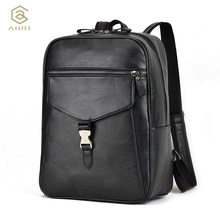 AHRI Factory outlet Fashion Men's Business School Boy Vintage Backpacks Male Shoulder Bags for Casual PU Leather Backpack men