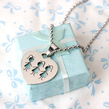 2015 New Products Stainless Steel Best Bitch Necklace Three Sister Heart Pendant Necklace Jewelry Nice Design(China)