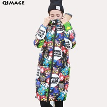 QIMAGE 2017 New Winter Print Jacket Coats PlusSize Women Long ParkasThick WarmCotton Padded Coat Female Winter Parkas Outwear(China)