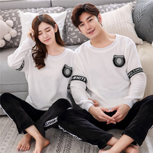 High Quality 2017 Autumn Winter Couple Flannel Pajamas Set Long Sleeve Sleepwear Set Women And Men Thick Warm Pyjamas Suit