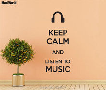 Mad World-Keep Calm And Listen to Music Wall Art Stickers Wall Decal Home DIY Decoration Removable Room Decor Wall Stickers()