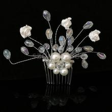 Fashion Elegant Wedding Ladies Jewel Bridal Diamante Pearl Hair Comb Slide Fascinator Hairpiece Headpiece(China)