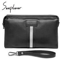 Black Large Business Men Clutches Wallet 2017 Brand Soft Split Leather Male Hand Bag Zipper Men's Clutch Bags Phone Wallets