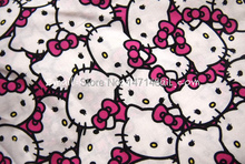 hk157 - 1 Yard Cotton Woven Fabric - Sanrio Cartoon Characters, Hello Kitty - Hot pink (W105)